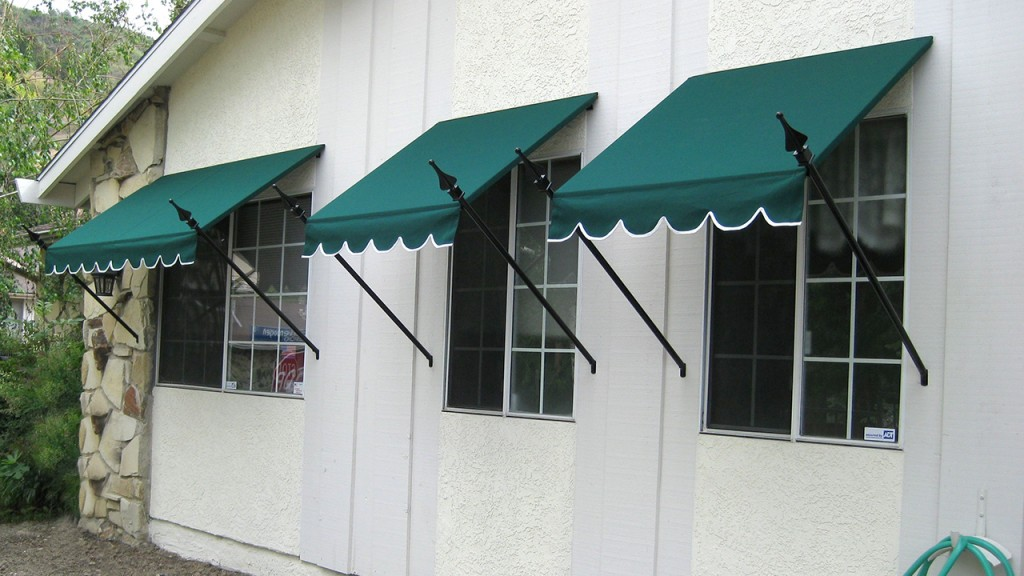 Green awning with spears