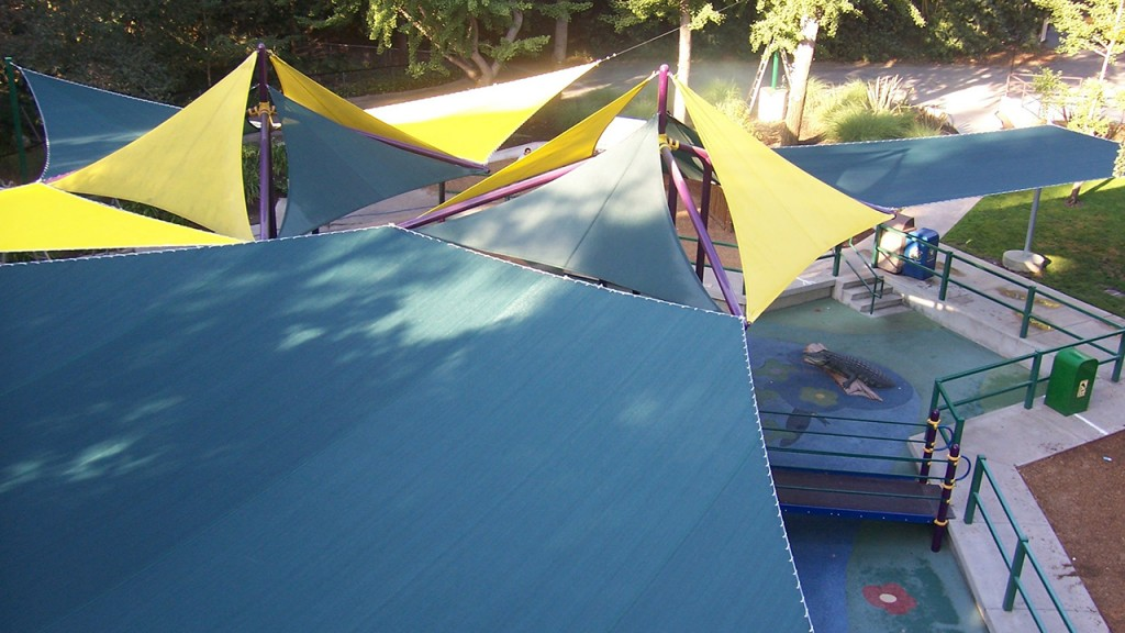 Blue and yellow shade structure