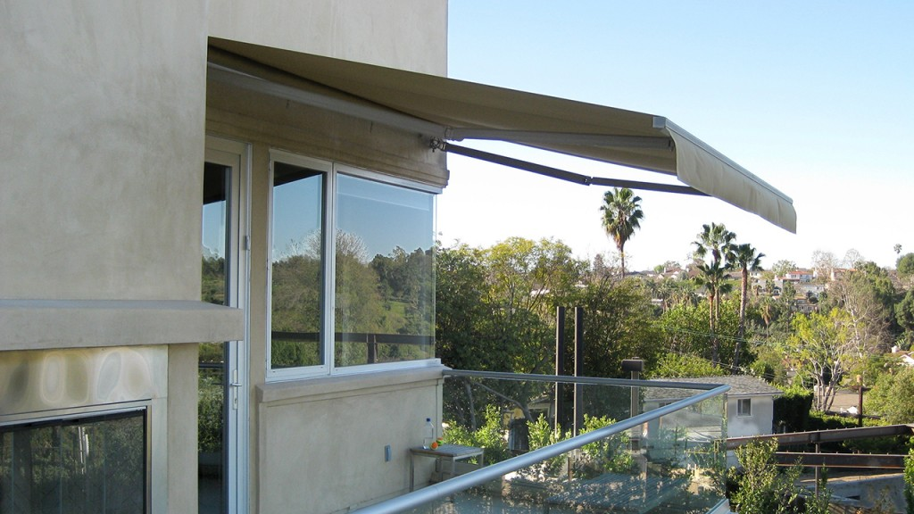 A retractable awning at a home