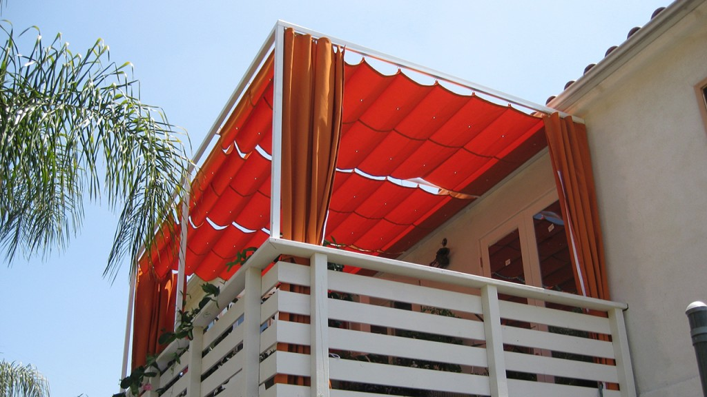 Red Sliding on Wire Awning