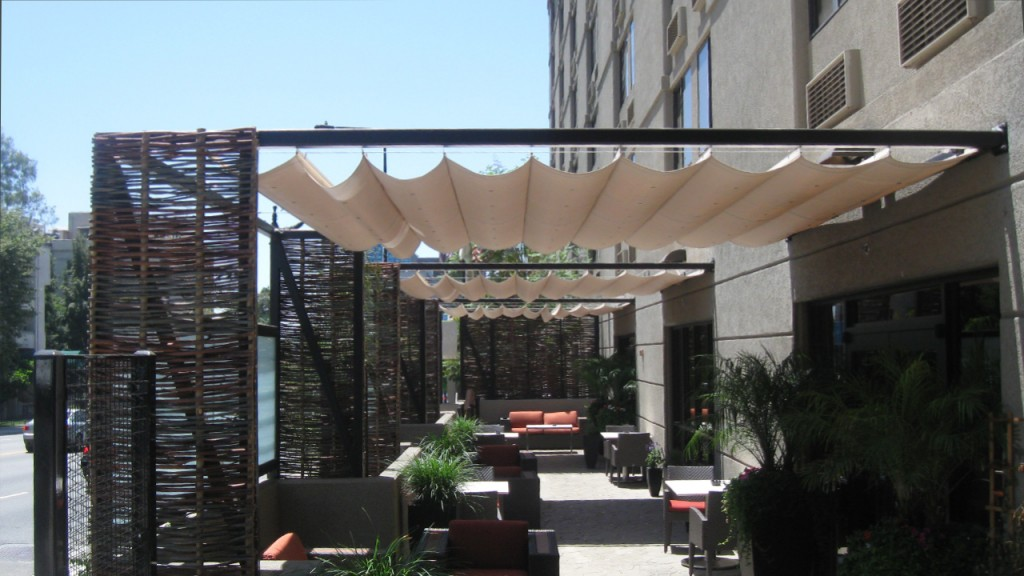 Awnings in the slide on wire style