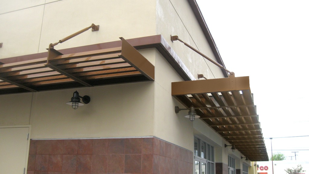 A stationary aluminum awning