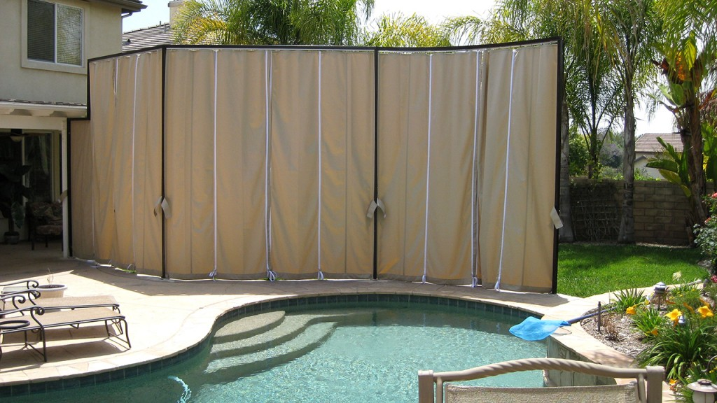 Sliding curtains by pool