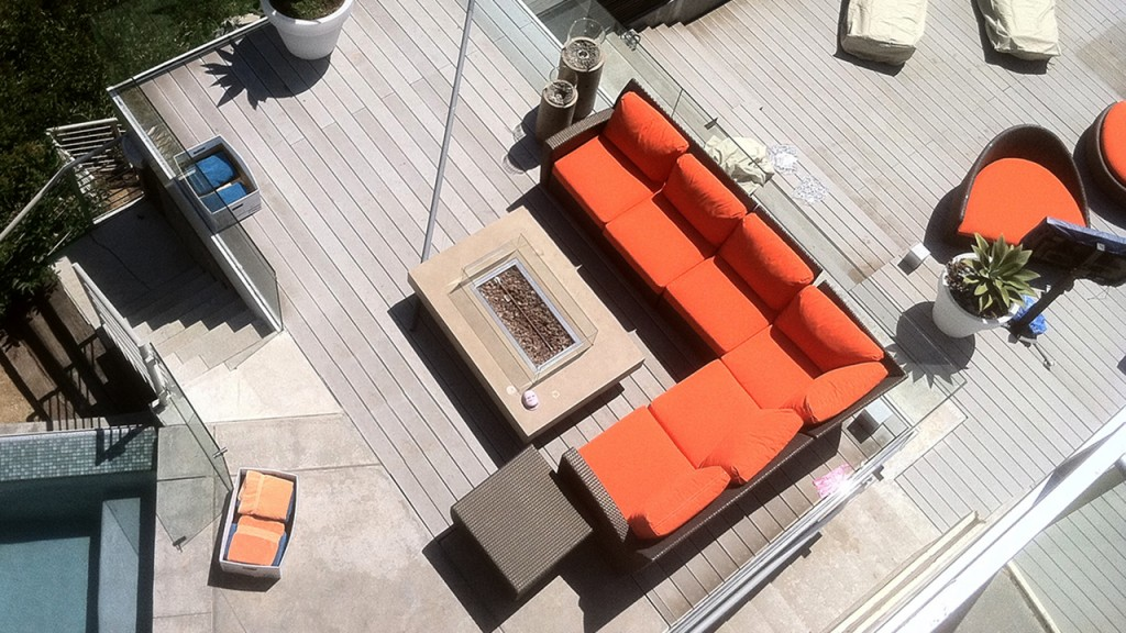 These custom cushions in orange were created by A World of Awnings