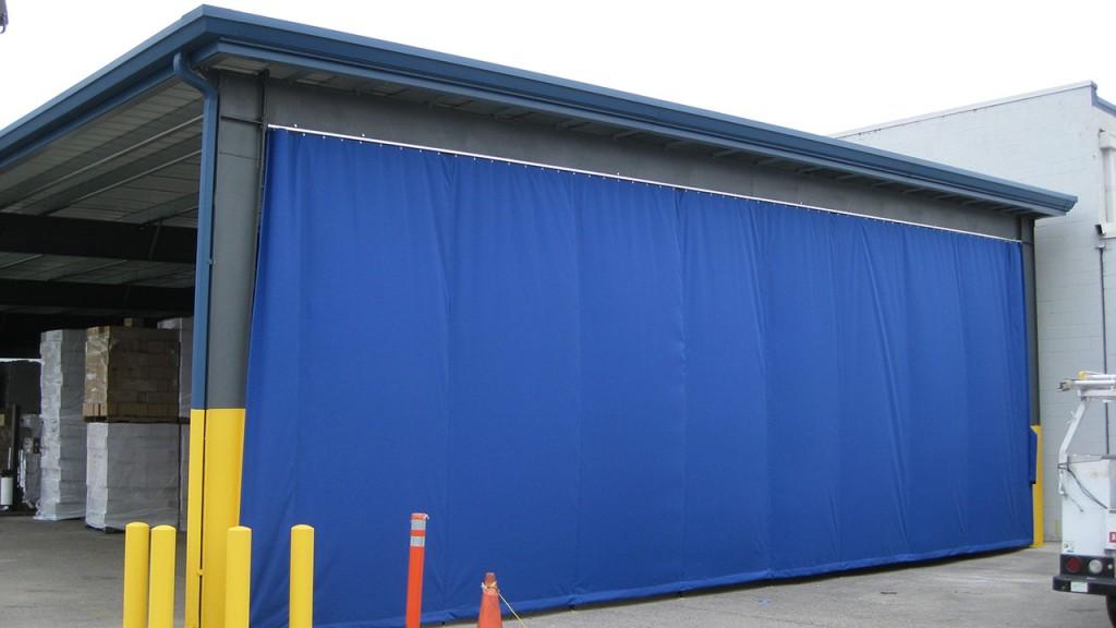 Blue sliding curtains