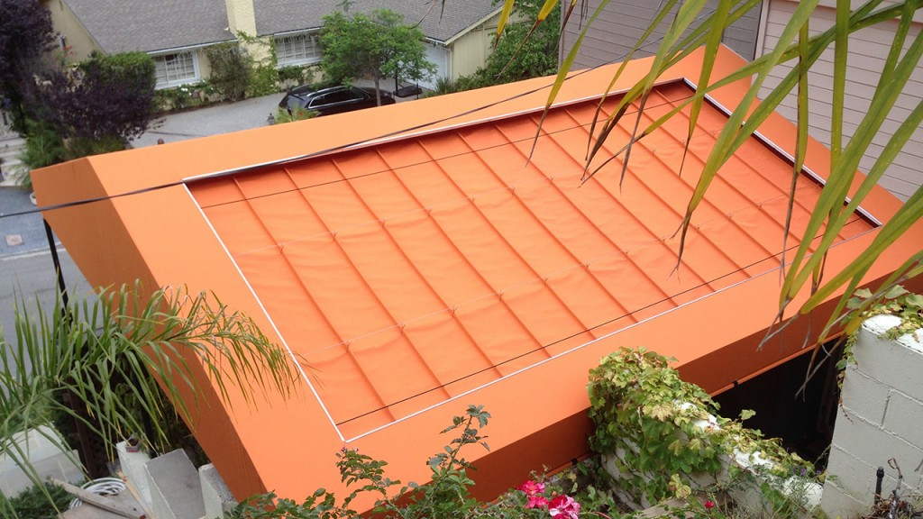 Orange sliding on wire awning