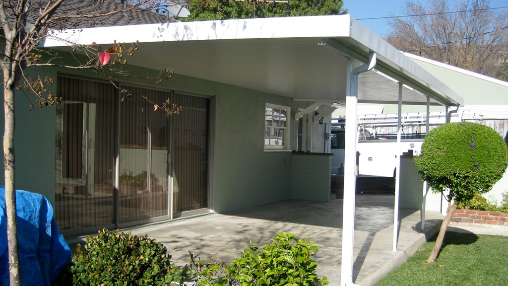 An aluminum awning installed by A World of Awnings