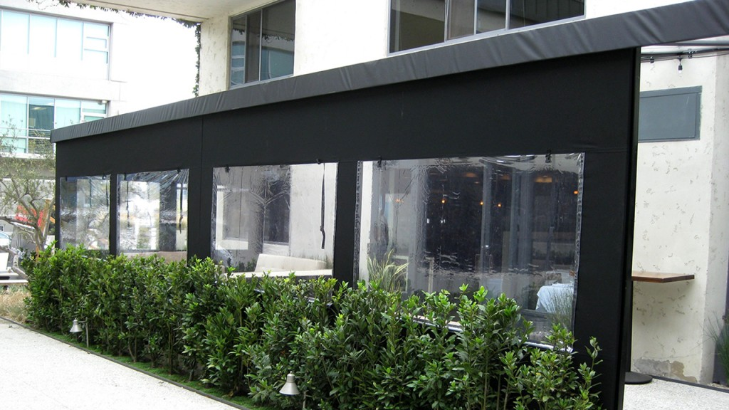 Patio Roll Up Curtains in Black