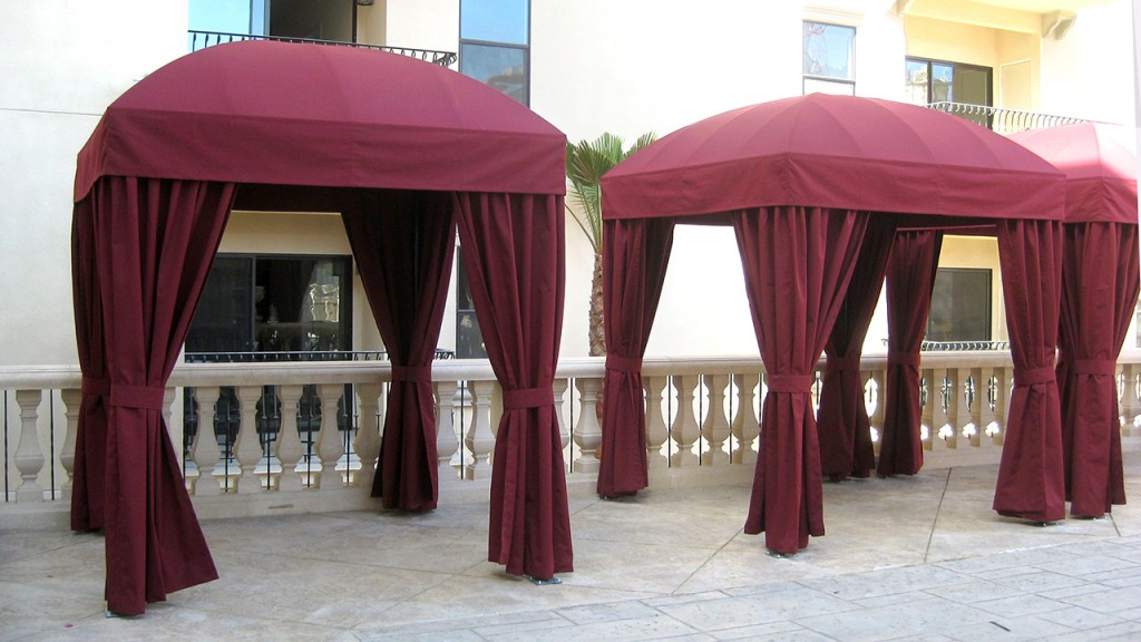 Custom cabanas in dark red