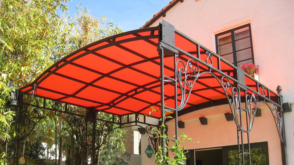 Red patio canopy