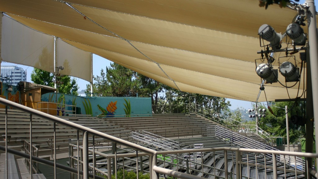 Shade structure over bleachers