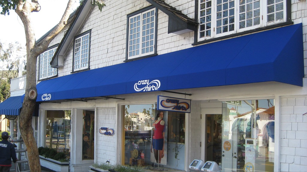 Blue storefront awning