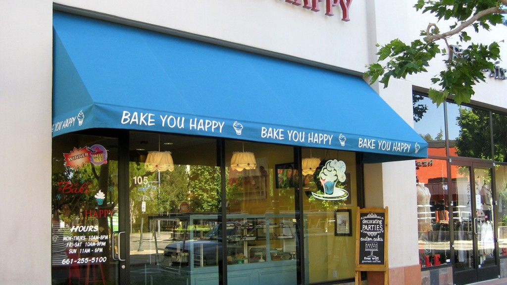 Commercial awning for bakery
