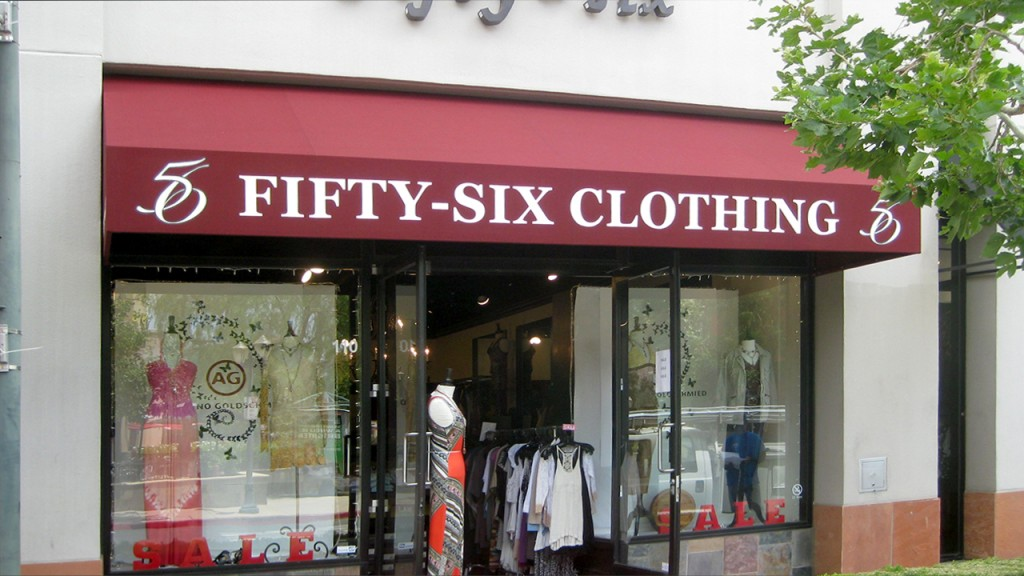 Commercial awning for clothing store