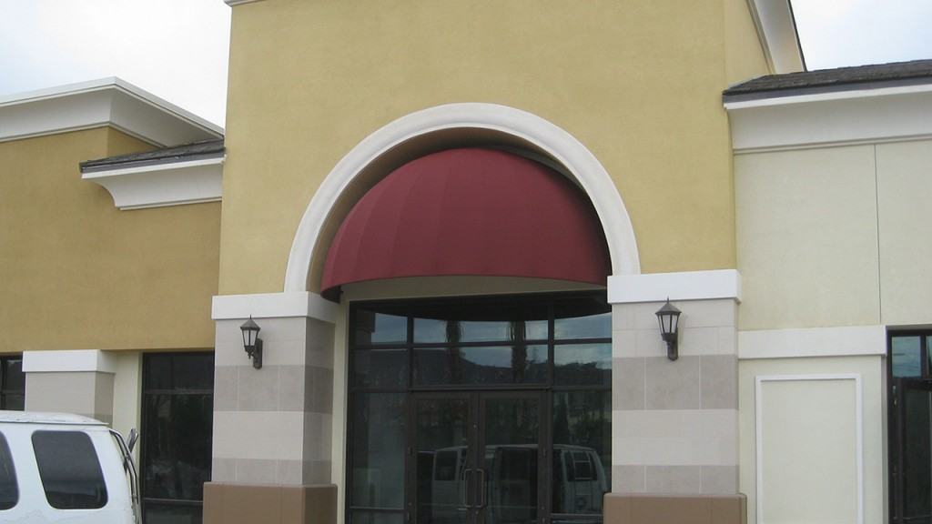 Maroon dome awning