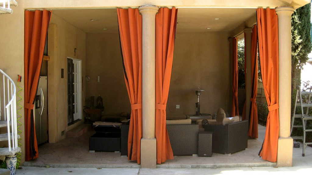 Outdoor sliding curtains in orange