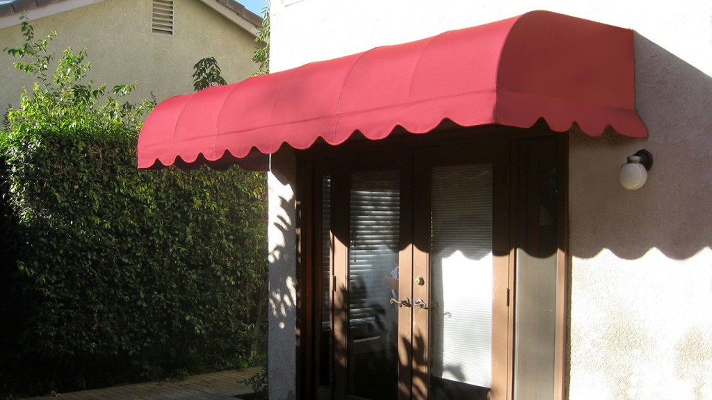 A red convex awning