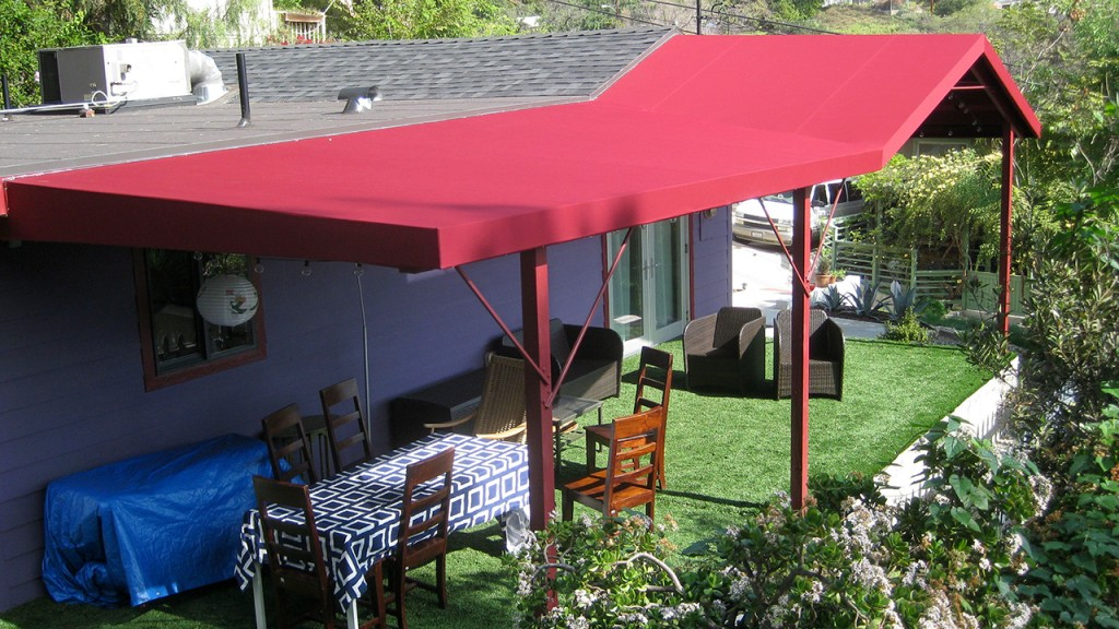 Custom red patio canopy