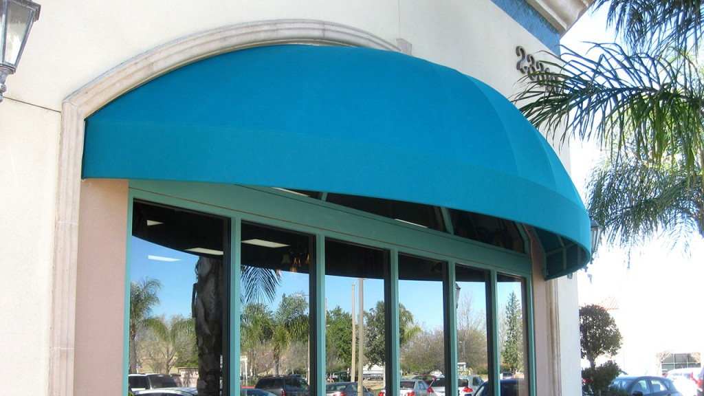Blue elongated dome awning
