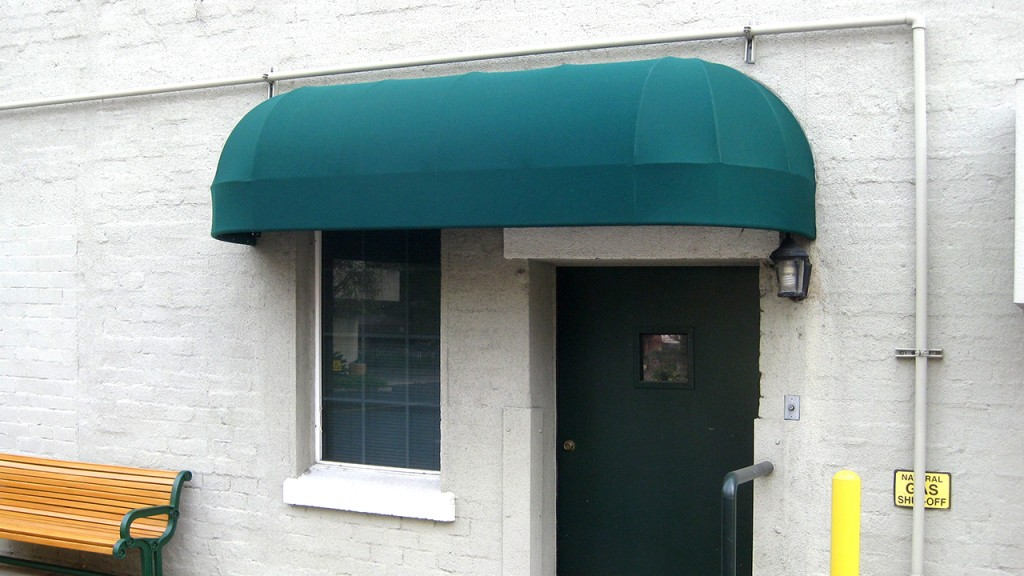 Green elongated dome awning