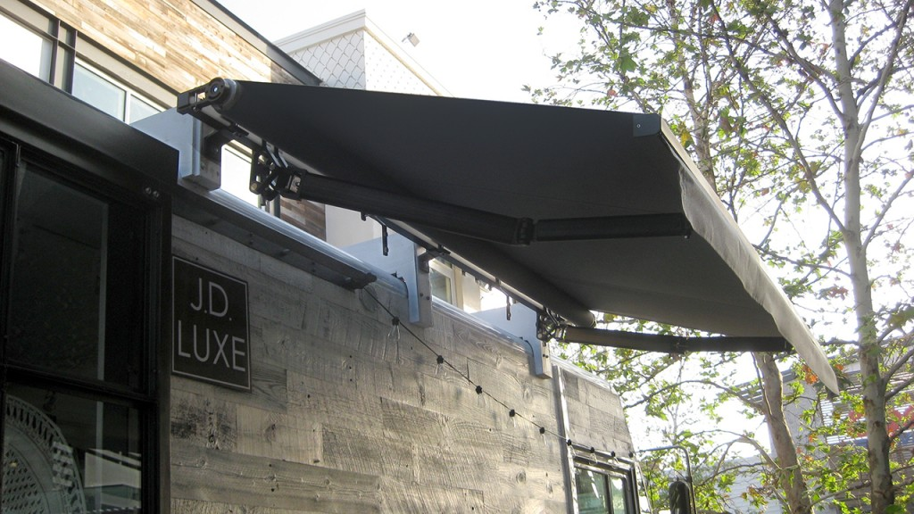 Black retractable awning